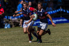 Player Centre Rugby Westville. Rugby action  Westville Boys High School and Paul Roos Gymn at Kearsney Royalty Free Stock Photo