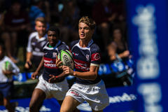 Player Run Try Rugby Westville. Rugby action Westville Boys High School and Paul Roos Gymn at Kearsney Royalty Free Stock Photos