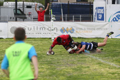 Rugby action - touchdown Royalty Free Stock Photos