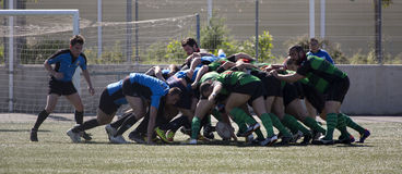 Rugby amateur mele. Amateur rugby match between ecija (blue) and Puerto Real (green stock photography