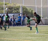 Rugby amateur shot. Amateur rugby match between ecija (blue) and Puerto Real (green stock photos