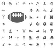 Rugby, American football ball icon. Sport illustration vector set icons. Set of 48 sport icons. Rugby, American football ball icon. Sport illustration vector stock illustration