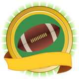 Rugby American football round shield and banner Royalty Free Stock Image