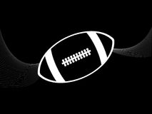 Rugby American football white silhouette and waves on black Royalty Free Stock Image