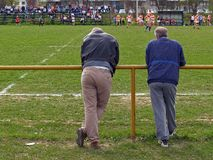Rugby Audience. Two adults watching amateur ragby match in Zagreb, Croatia Stock Images