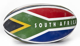 Rugby ball. With South Africa flag Stock Photo