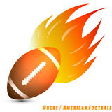 Rugby ball or american football ball with red orange yellow tone of the fire in white background. Rugby/american football logo club. vector. illustration Royalty Free Stock Photo