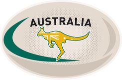 Rugby Ball Australia kangaroo wallaby. Illustration of a rugby ball with Australian kangaroo wallaby and words Australia on isolated white background Royalty Free Stock Photo