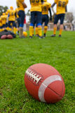 Rugby ball on a background of a players Stock Images