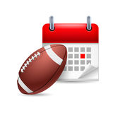 Rugby ball and calendar Royalty Free Stock Images