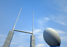 Rugby Ball Closeup Infront Of Posts Royalty Free Stock Image