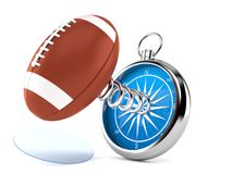 Rugby ball with compass. Isolated on white background. 3d illustration Royalty Free Stock Photo