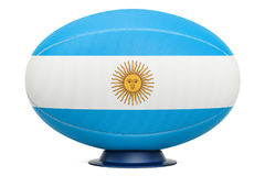 Rugby Ball with flag of Aregnintina, 3D rendering Royalty Free Stock Images