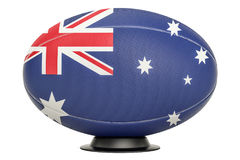 Rugby Ball with flag of Australia on the ball stand, 3D renderin. Rugby Ball with flag of Australia on the ball stand, 3D Stock Image