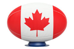 Rugby Ball with flag of Canada, 3D rendering Royalty Free Stock Photo