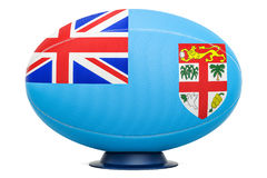 Rugby Ball with flag of Fiji, 3D rendering. Isolated on white background Stock Photos