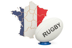 Rugby Ball with flag of France, 3D rendering. Isolated on white background Stock Photos