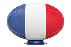 Rugby Ball with flag of France, 3D rendering. Isolated on white background Stock Photo
