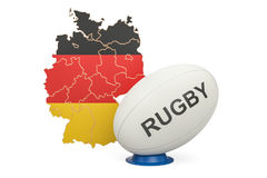 Rugby Ball with flag of Germany, 3D rendering. Isolated on white background Stock Photo