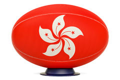 Rugby Ball with flag of Hong Kong, 3D rendering Royalty Free Stock Photography
