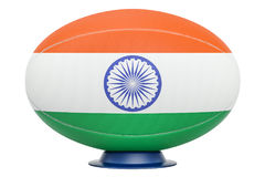 Rugby Ball with flag of India, 3D rendering Stock Photos