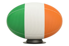 Rugby Ball with flag of Ireland on the ball stand, 3D rendering. Rugby Ball with flag of Ireland on the ball stand, 3D Stock Photos