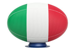 Rugby Ball with flag of Italy, 3D rendering. Isolated on white background Royalty Free Stock Image