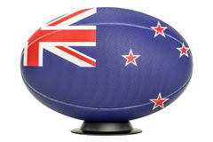 Rugby Ball with flag of New Zealand on the ball stand, 3D render Royalty Free Stock Images