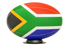 Rugby Ball with flag of South Africa, 3D rendering. Isolated on white background Stock Photography