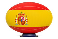 Rugby Ball with flag of Spain, 3D rendering Stock Images
