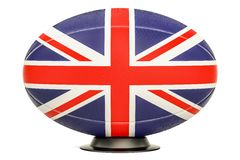 Rugby Ball with flag of UK, 3D rendering Royalty Free Stock Images