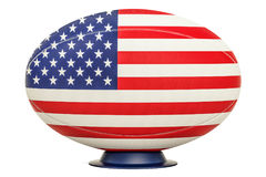 Rugby Ball with flag of USA, 3D rendering. Isolated on white background Stock Images