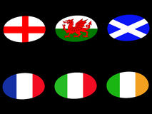 Rugby ball flags. England ireland wales scotland france italy Royalty Free Stock Image