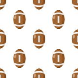 Rugby Ball Flat Icon Seamless Pattern. A seamless pattern with a rugby or American football ball flat icon, isolated on white background. Useful also as design Royalty Free Stock Images