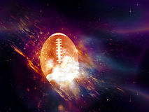 Rugby Ball Flies. Purple space background with rugby ball, explosion effect Royalty Free Stock Image