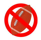 Rugby ball forbidden sign Royalty Free Stock Images