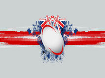 Rugby ball on a grunge background with flag Royalty Free Stock Photo