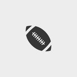 Rugby ball icon in a flat design in black color. Vector illustration eps10