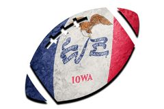 Rugby ball Iowa state flag. Iowa flag background Rugby ball royalty free stock photo