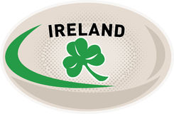 Rugby Ball Ireland Shamrock. Illustration of a rugby ball with Irish shamrock clover leaf and words Ireland on isolated white background Royalty Free Stock Images