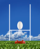 Rugby ball kicked to the posts showing movement Stock Photos