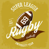 Rugby ball logo for t-shirt branding design. Super rugby league banner or sportswear gear, shirt clothing or uniform cloth.For athletic sport equipment, team Stock Image