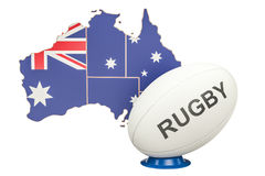 Rugby Ball with map of Australia, 3D. Rendering Stock Photos