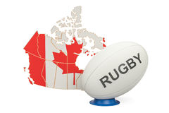 Rugby Ball with map of Canada, 3D rendering. Rugby Ball with map of Canada, 3D Royalty Free Stock Photos