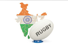 Rugby Ball with map of India, 3D rendering. Rugby Ball with map of India, 3D Stock Image