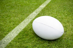 Rugby ball near try line on rugby pitch royalty free stock photography