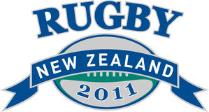 Rugby ball new zealand 2011. Illustration of a sign, symbol showing a rugby ball with words new zealand 2011 set inside ribbon royalty free illustration