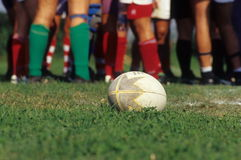 Rugby ball and players Royalty Free Stock Photo