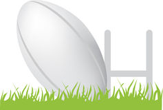 Rugby ball and posts Stock Photo