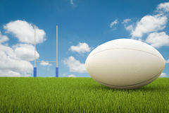 Rugby ball with rugby posts Royalty Free Stock Images